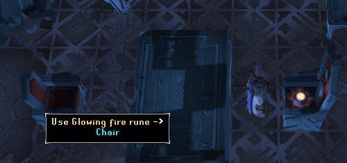 Use the Glowing fire rune on the Chair