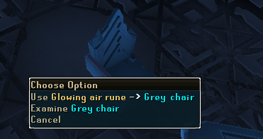 Use the Glowing air rune on the Grey chair