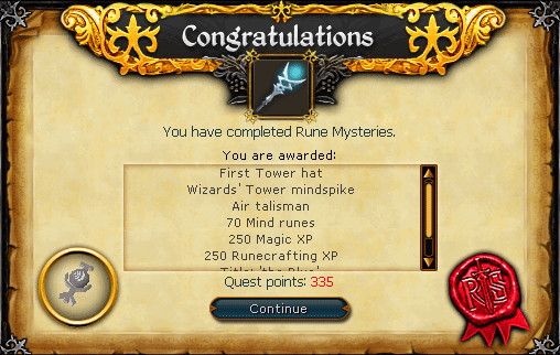 Rune Mysteries - Congratulations! You have completed Rune Mysteries.