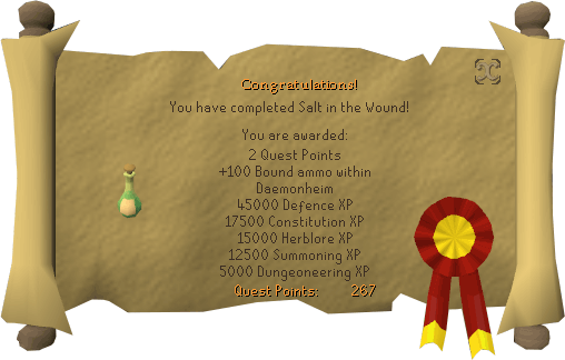 Congratulations! You have completed Salt in the Wound!