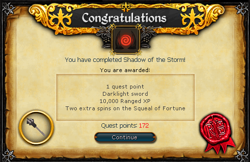 Congratulations! You have completed Shadow of the Storm!
