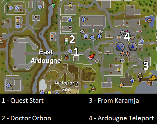 Map of important locations in the Sheep Herder quest