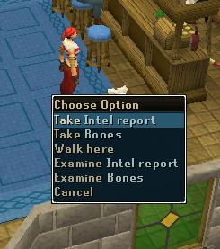 Pick up intel report.