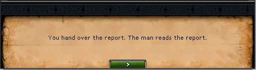 You hand over the report. The man reads the report.
