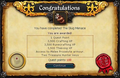 Congratulations! You have completed the Slug Menace Quest!