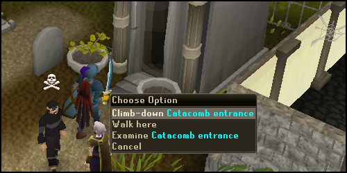 Climb down Catacomb entrance