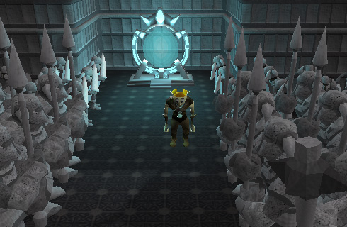 The statues will allow you to pass and enter the portal