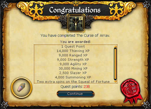 Congratulations! You have completed The Curse of Arrav.