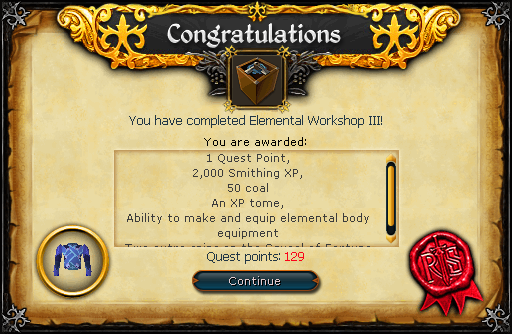 Congratulations! You have completed the Elemental Workshop III Quest!
