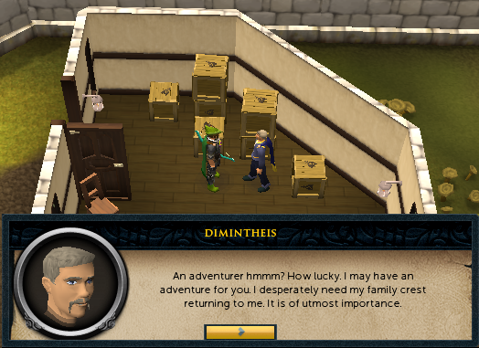 Dimintheus: An adventurer hmmm? How lucky. I may have an adventure for you.