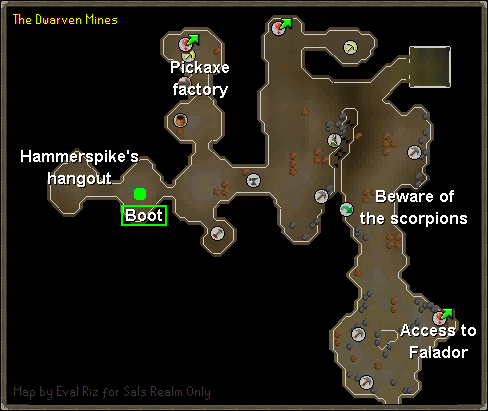 A map of the location of Boot in the Dwarven Mines.
