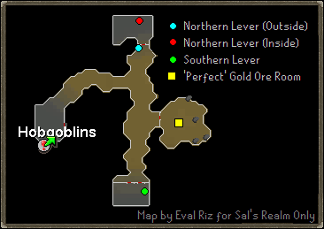 A map of level locations.