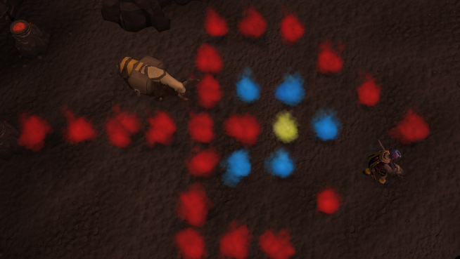 The coloured fires laid out correctly
