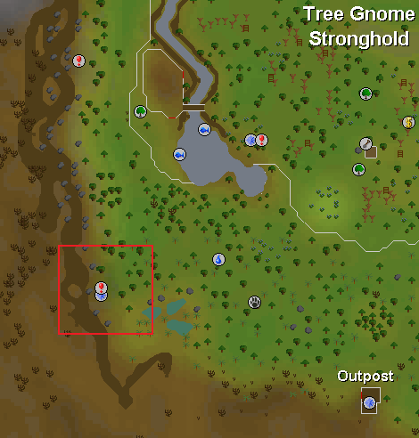 Map of the starting location for The Firemaker's Curse quest