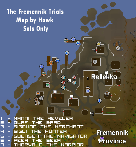 A map of Rellekka and its citizens