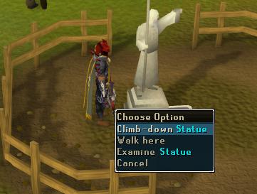 Climb down the Statue