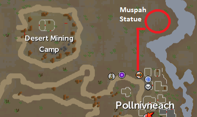 The location of the muspah statue in the desert