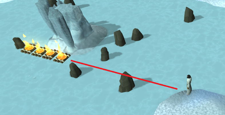 Another line of burning rafts