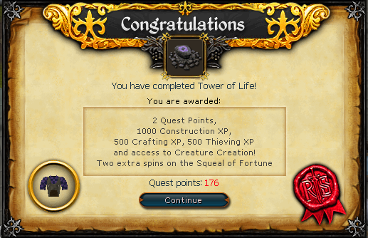 Congratulations! You have completed the Tower of Life Quest!