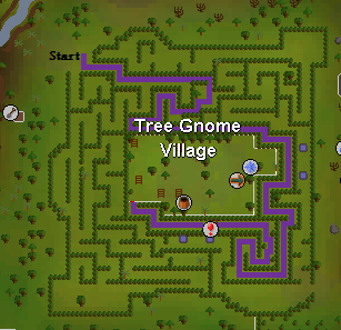 A map of the route to the quest start point