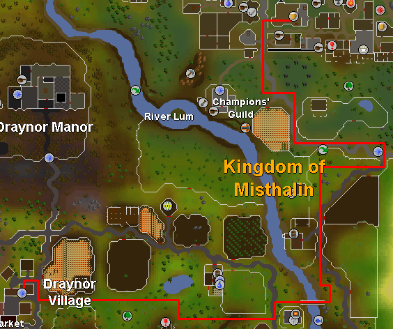 Route from Draynor Village to Dr. Harlow in Varrock