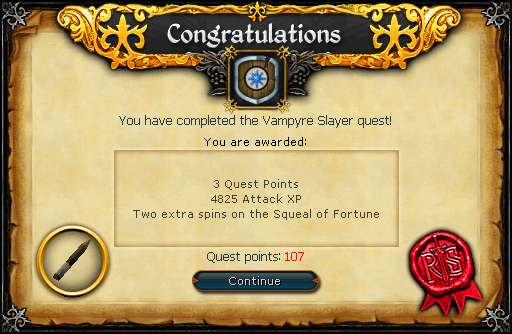 Congratulations! You have completed the Vampire Slayer Quest!