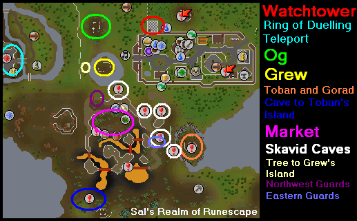 Watchtower - Map of important quest locations