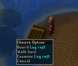 Board the log raft