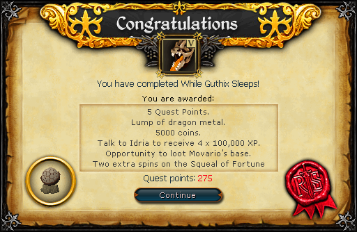 Congratulations! You have completed the While Guthix Sleeps Quest!