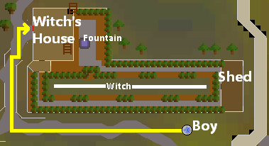 Route from the Boy to the witch's front door