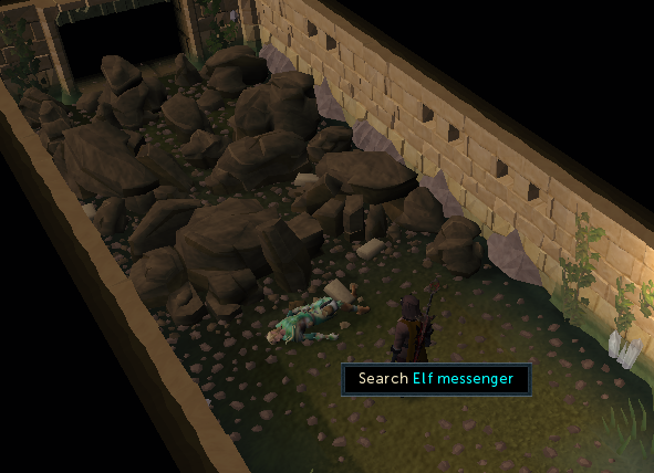 Search the dead Elf Messenger to receive a report