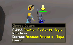Attack Arzinian Avatar of Magic
