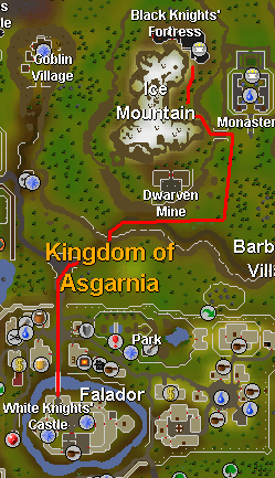 Route from falador to the black knights' fortress