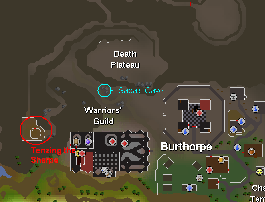 Death Plateau - A map of burthorpe and key quest points