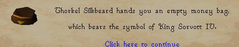 The Fremennik Isles - Thorkel hands you an empty money bag
