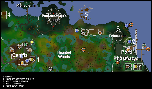 Ghosts Ahoy - Map of helpful quest areas