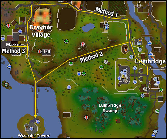 Routes to the wizards' tower