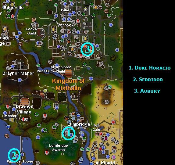 A map of the main places used in the quest