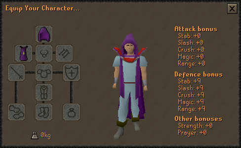 The Cooking skillcape equipment screen