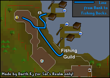 Route from the fishing guild bank to fishing spots