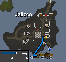 Route from the Jatizso bank to fishing areas
