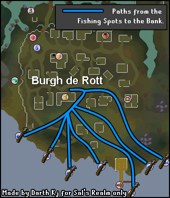 Map from the Burgh de Rott bank to fishing areas