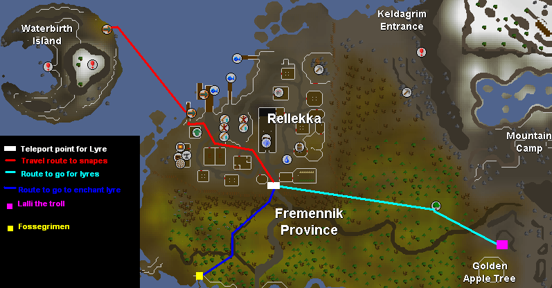 Map of routes around Rellekka