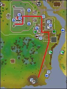 Route to mining site in the Lumbridge Swamp