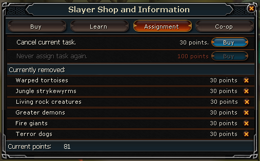 Slayer shop assignments