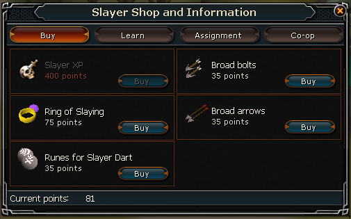 Slayer shop buy