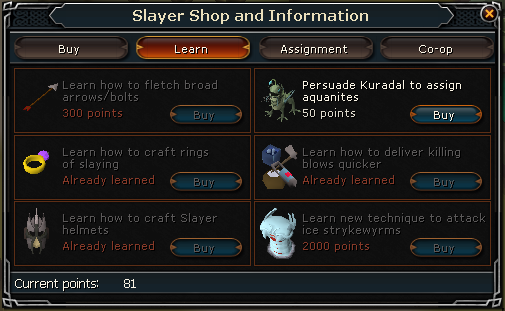 Slayer shop learn