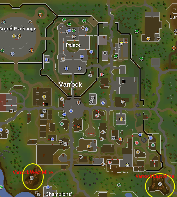 Map of the east and west Varrock mines
