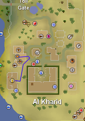 Map of route from Al Kharid bank to furnace