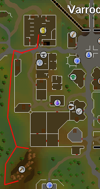 Map of route from Varrock west mine to bank